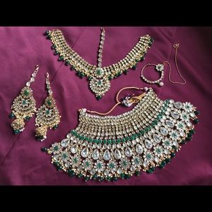 Jewelry - Greens and stone Indian bridal set